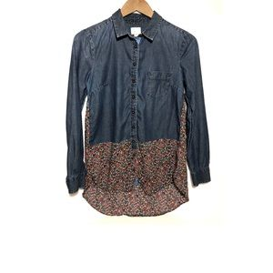 Anthropologie Postmark Chambray Floral Blouse